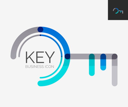 Keys: Minimal line design logo, key icon Illustration