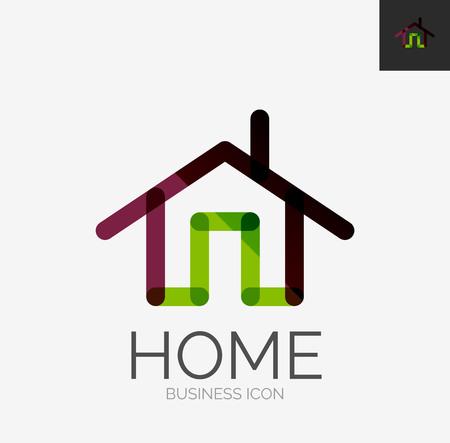 Minimal line design logo, home icon Vector