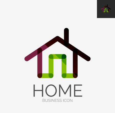 house construction: Minimal line design logo, home icon