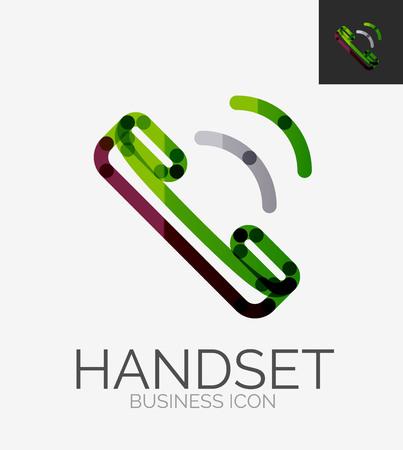 Minimal line design logo, phone handset icon Vector