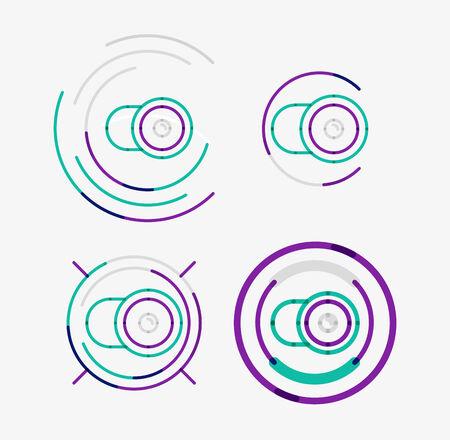 Thin line neat design logo set, camera concept Vector