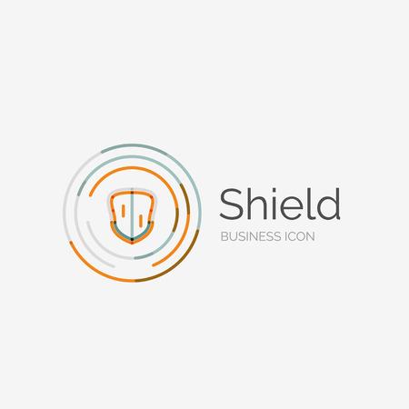 Thin line neat design logo, shield icon Vector