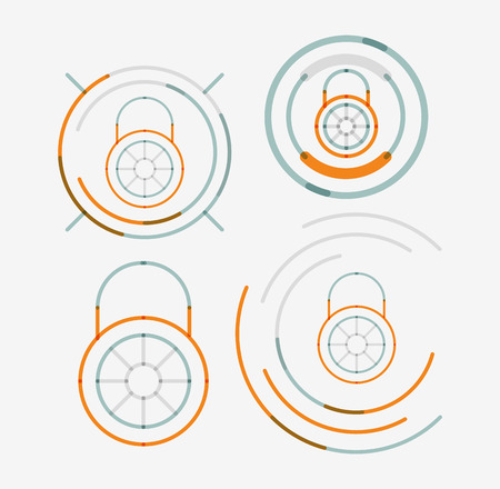 neat: Thin line neat design icon set, lock concepts