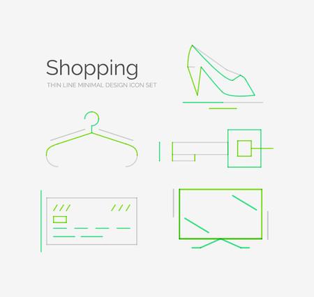 Outline design shopping icon set Vector