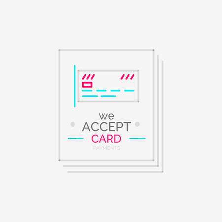 Line design shopping stamps, accept card label Vector