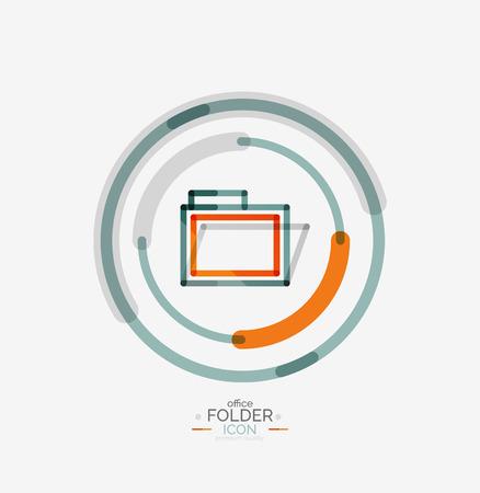 accounting logo: Folder logo, stamp. Accounting binder. Minimal line design Illustration