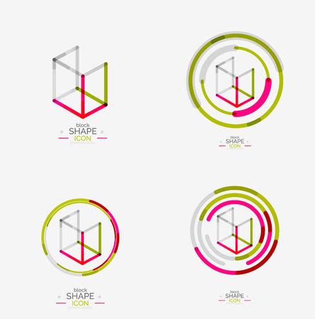 Minimal line design logo, business icon, block Vector