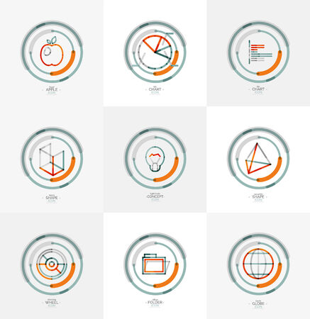 Minimal thin line design web icon set, stamps Vector