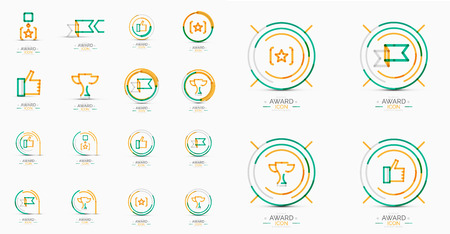 Set of Award icons, Logos. Modern business symbol, minimal outline design Vector