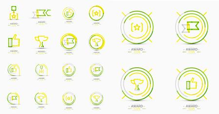 Set of Award icons, Logos. Modern business symbol, minimal outline design Vector