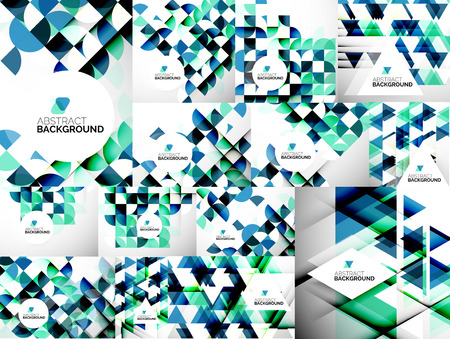Set of Abstract Modern Flyers - brochure design templates, geometric backgrounds Vector