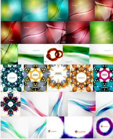 Set of Abstract Backgrounds, Business or Technology Templates, Online Geometric Triangular, Wave, Floral Abstract Modern Backgrounds Vector