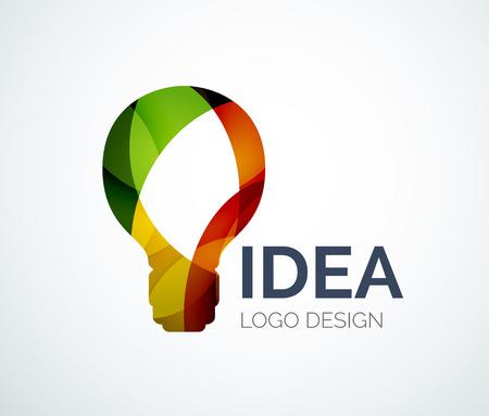 색상 조각으로 만든 전구 로고 디자인 일러스트