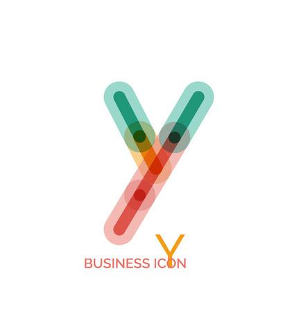 Minimal line font design, letter Y Vector