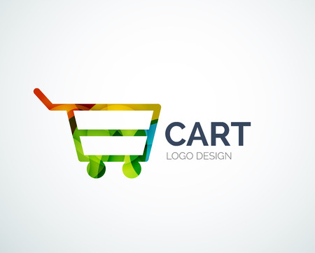 Shopping logo design made of color pieces Vector