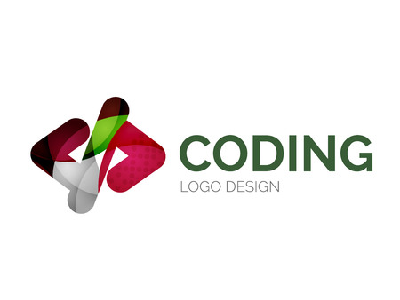 code: Code icon logo design made of color pieces