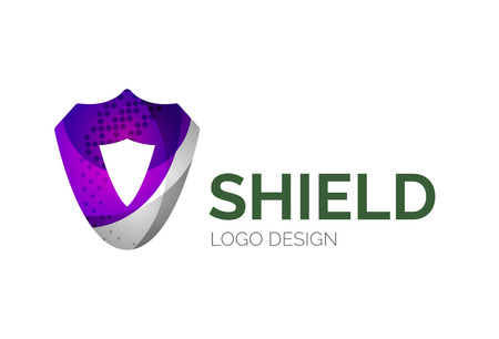 Abstract secure shield logo design made of color pieces - various geometric shapes Vector