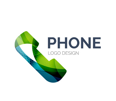 Retro phone icon design made of color pieces Vector