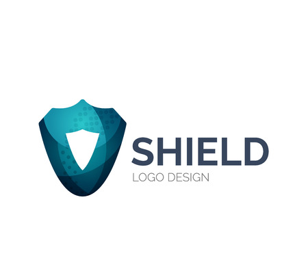 Secure shield icon design made of color pieces