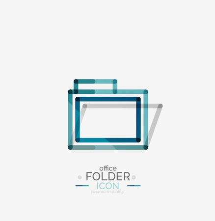 accounting logo: Folder logo, stamp. Accounting binder. Minimal line design Illustration