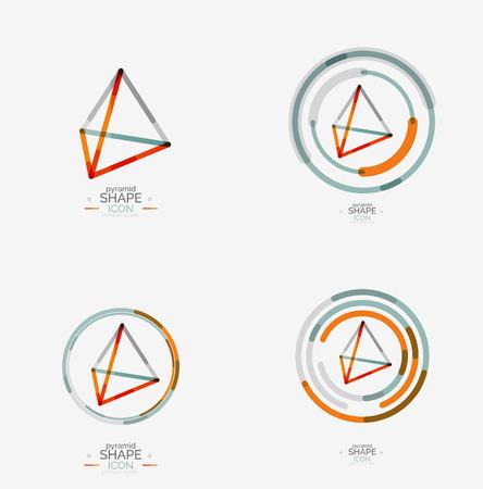 pyramid peak: Pyramid shape line design, logo concept Illustration