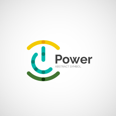 Power button logo design, minimalistic line art Stock Vector - 33722724