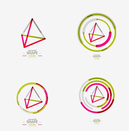 pyramid peak: Pyramid shape line design Illustration