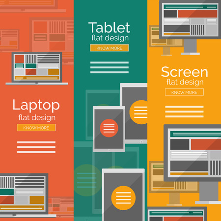 Set of flat design screen concepts Vector