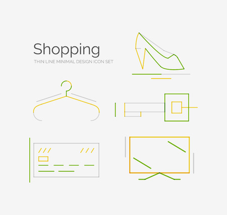 Outline design shopping icon collection, futuristic style Vector
