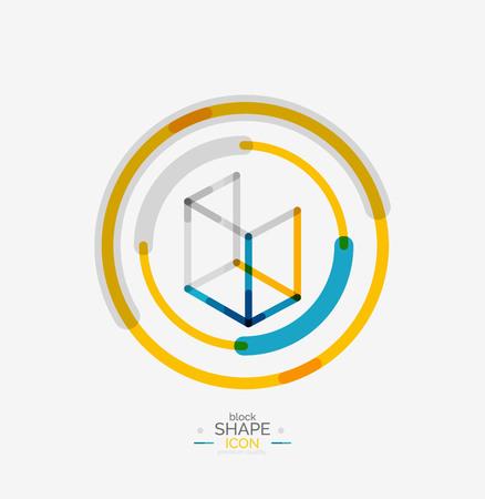 Minimal line design logo, business icon, branding emblem Vector