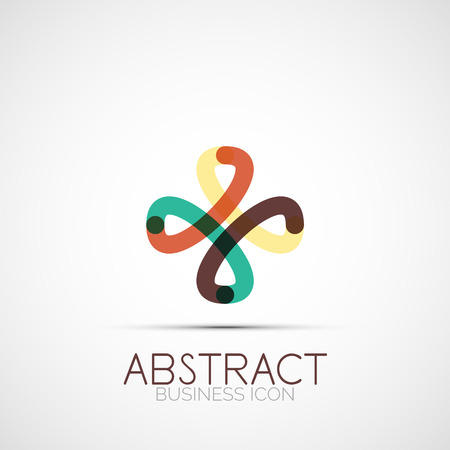 Line design logo, geometric abstract business identity icon, connected lines, symmetric loop logotype Vector
