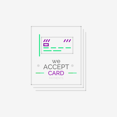 Minimal line design shopping stamps and symbols, futuristic style, accept card label Vector