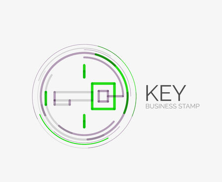 Minimal line design shopping stamps and symbols, futuristic style, key idea Vector