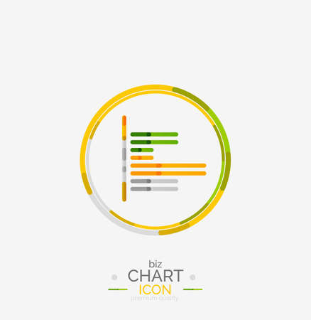 Line graph, chart icon, minimal geometric design Vector