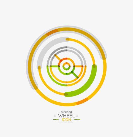 Car steering wheel icon, minimal line design, stamp Vector