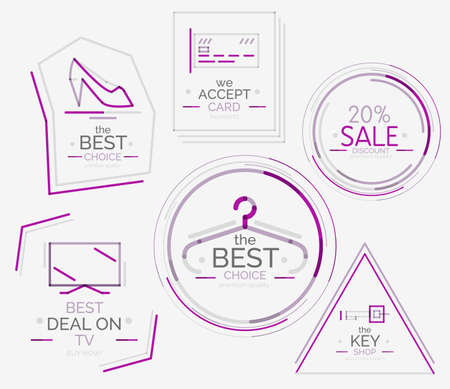 Minimal line design shopping stamps Vector