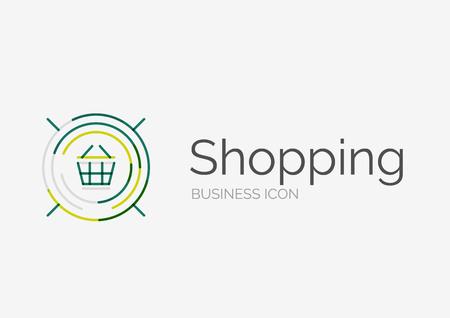 Thin line neat design logo, shopping cart icon Vector