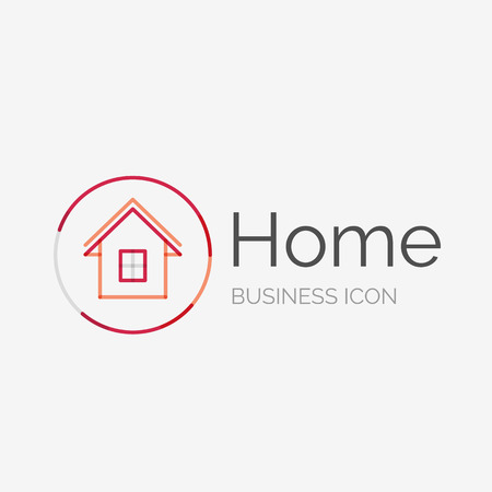 Thin line neat design logo, home idea Vector