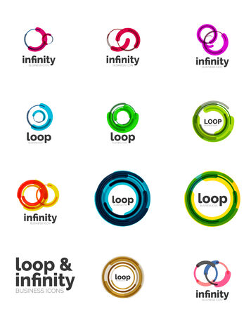 circle shape: Set of infinity and loop business   Illustration