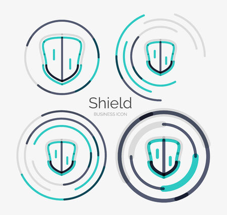 Thin line neat design  , shield icon set Vector