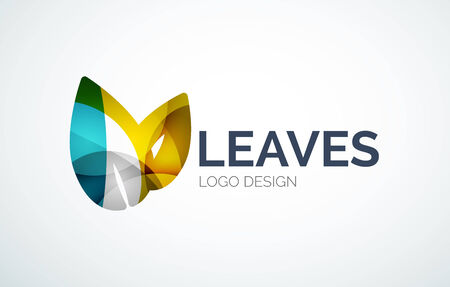 Eco leaves design made of color pieces Vector