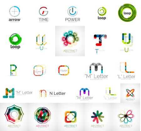 Set of branding company logo elements, abstract business icons Illustration