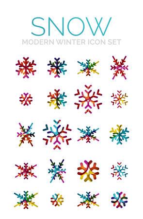 merry chrismas: Set of Christmas snowflake icons Illustration