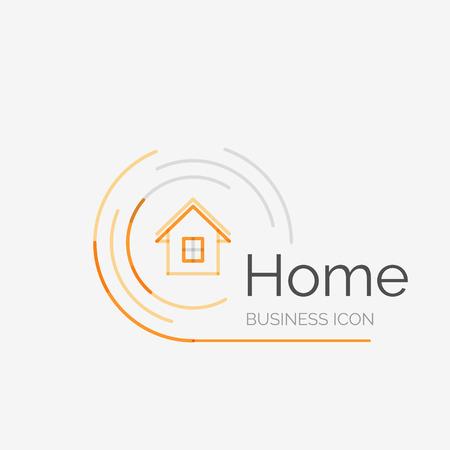 Mince ligne logo design soigné, la maison idée Banque d'images - 34468220