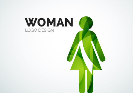 Color abstract woman icon Vector