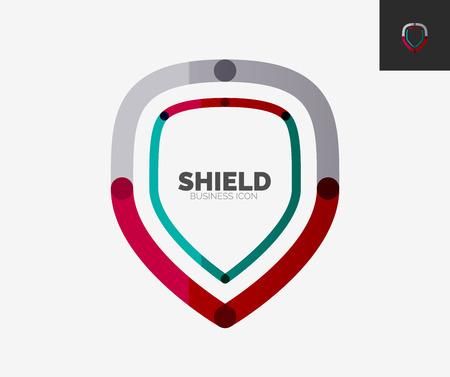 Minimal line design logo, shield icon Vector