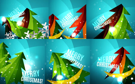 merry chrismas: Set of colorful bright Chrismas card, modern abstract template