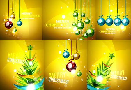 chrismas: Set of colorful shiny Chrismas cards Illustration