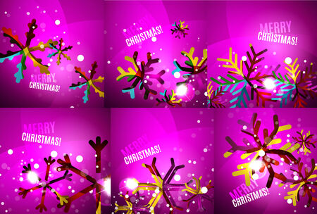merry chrismas: Set of colorful shiny Chrismas cards Illustration
