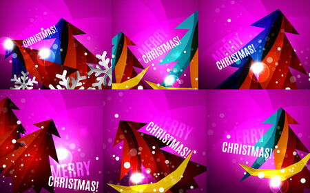 Set of colorful shiny Chrismas cards Vector